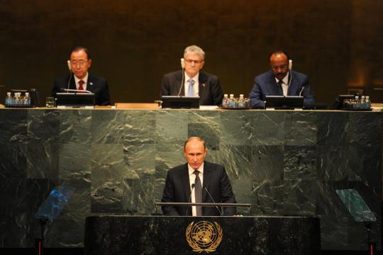 Владимир Путин принял участие в пленарном заседании юбилейной, 70-й сессии Генеральной Ассамблеи ООН в Нью-Йорке.